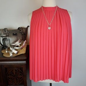 Liz Claiborne Pink Pleated Sleeveless Top, L
